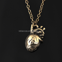 3D Necklace Tone Antique Gold Anatomical Human Heart Necklaces For Women