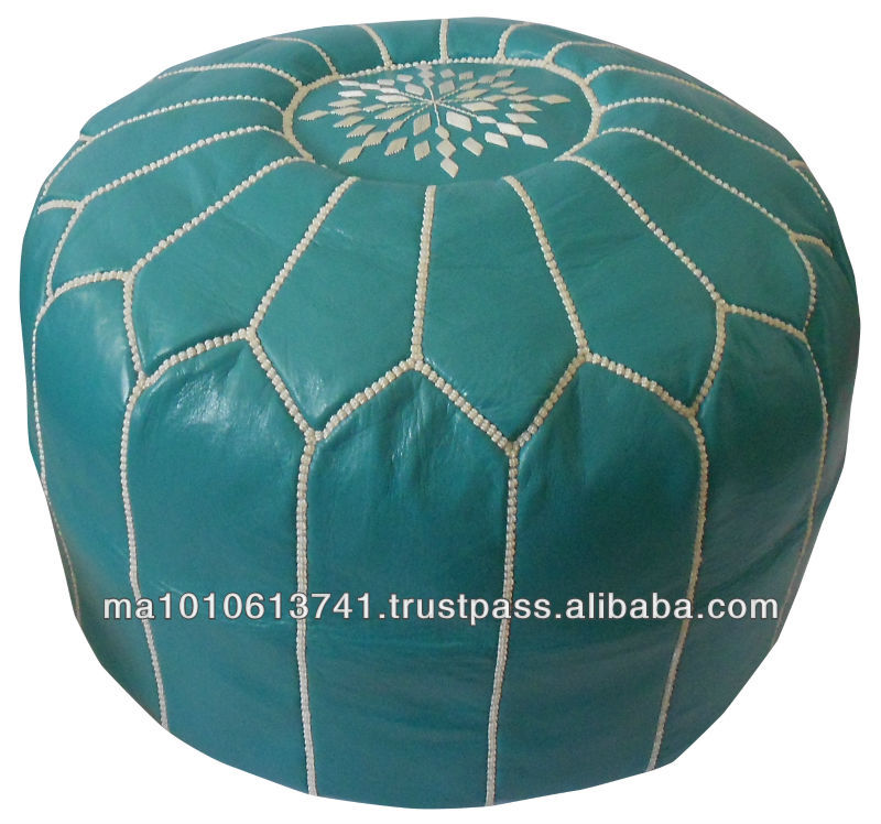 Turquoise marokkaanse lederen poef poef voetenbankje poef ottomanen andere antieke meubels - Rechthoekige lederen pouf ...
