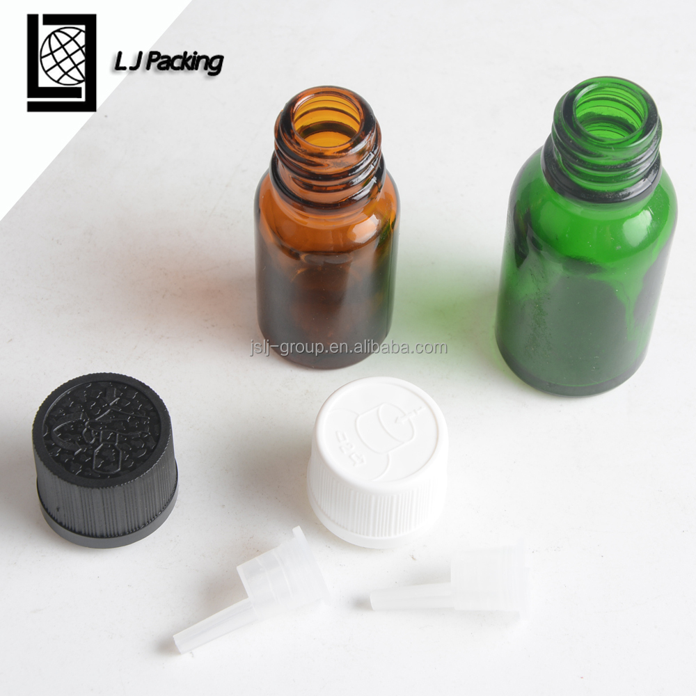 10ml 15ml glass dropper bottle with child proof cap and rubber with pipette