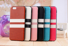 Fashionable Stripe Pattern PU leather Hybird Soft Gel TPU Case for iPhone 6 (Assorted Colors)