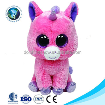 2017 Ty Big Eyes Animal Pink Unicorn Plush Toy To Kids LOW MOQ Custom Cute Stuffed Soft Toy Plush Unicorn