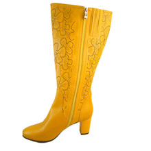 women long knee leather boots ladies orange boots