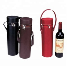 Leather Wine bag Round PU wine holder carrier FN0092
