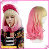 Hot sale Beige And Pink Long Wavy Cosplay Wigs Human hair