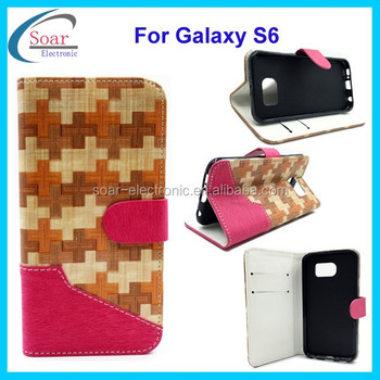 For Samsung galaxy S6 weave style wallet leather case ,stand magnet flip cover case for Samsung galaxy S6
