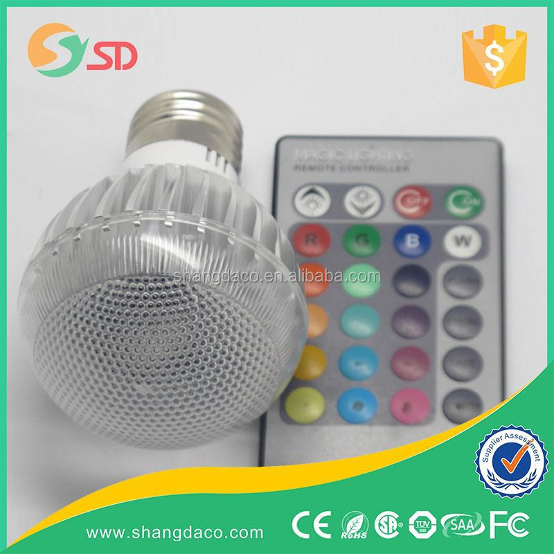 e27 led bulb lamp 16 key color changing e27 rgb led bulb 9w