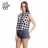 HAODUOYI Hot Sale Black White Checked Sleeveless Crop Shirt with Low Price