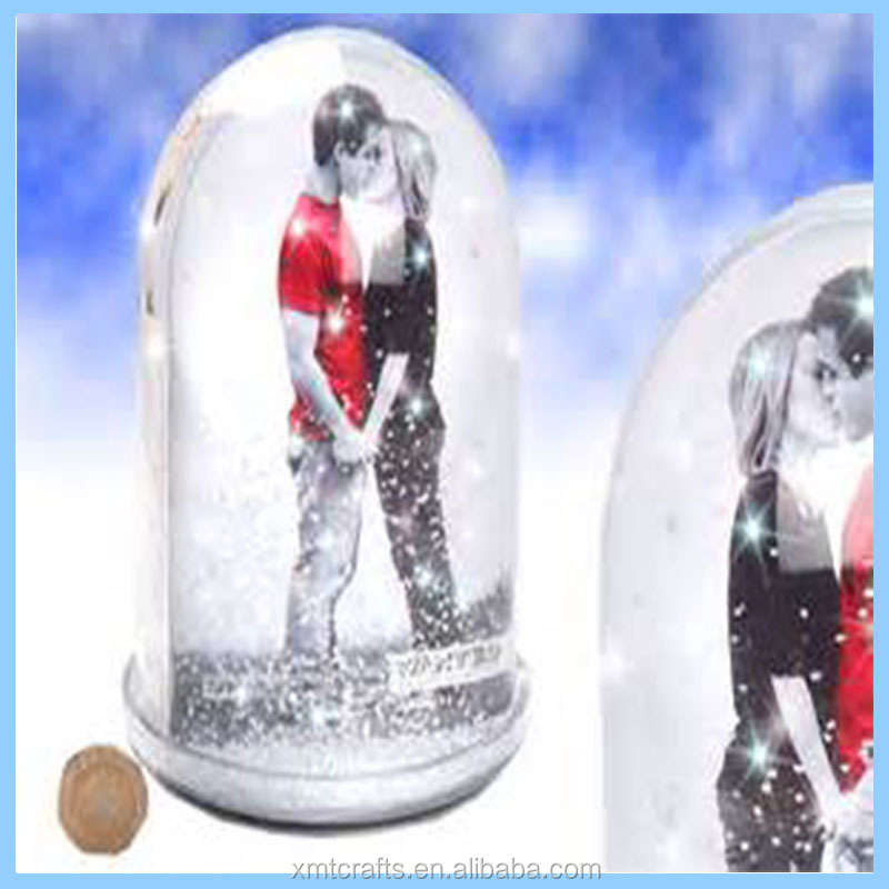 Large Tall Snow Globe Dome With Glitter Photo Picture Frame