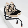 2016 Lace up high heel women sandals espadrille wedge jute sole summer sandals