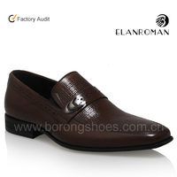 Classic manufacture pointed toe loafers genuine men leather dress shoes with strap