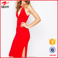 Latest Fashion V neck Knee Length Pencil Dress For Women Ladies Red Dress