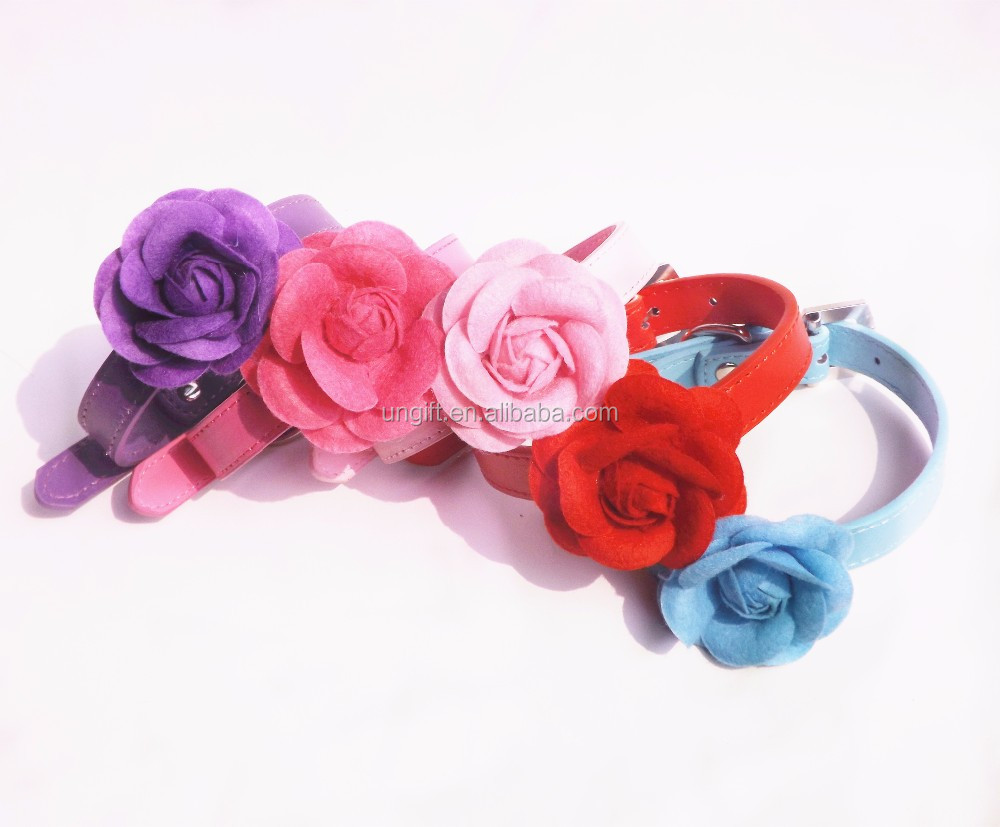Pretty Rose Flower Small Dog Collar Necklace PU Leather Dog Cat Puppy Collar Pink Red Purple Blue Rose Neck Strap