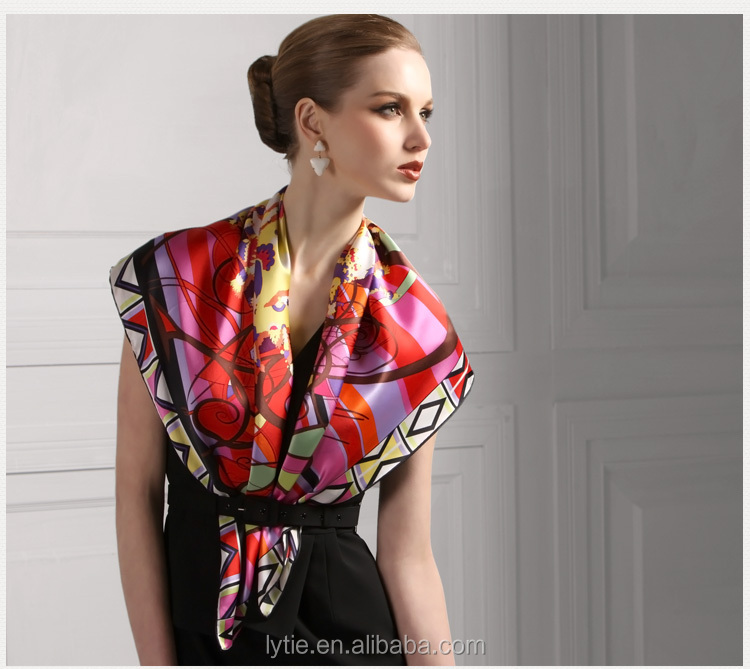 High quality digital print women graceful fashionable viole printed scarf