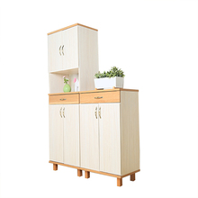 Wood Side Cabinet Design Shoe Showcase With Clothes Cabinet