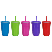 Top Quality Plastic Cup Single Wall with Lid and Straw