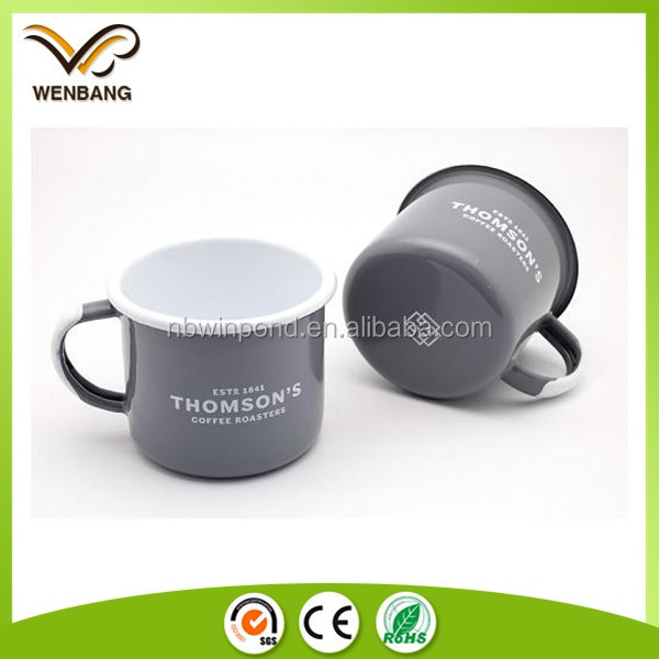 16oz custom design enamel sublimation metal tin coffee mug