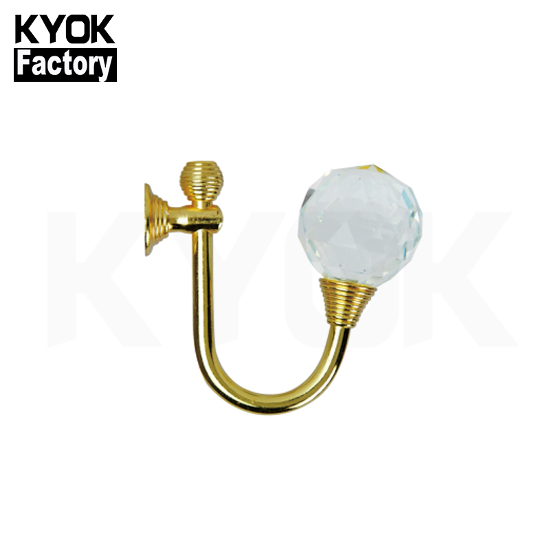 KYOK Hot Sale Decorcurtain Tassel Wall Hooks Brass Crown Curtain Hookadhesive Curtain Hook And Loop Tape