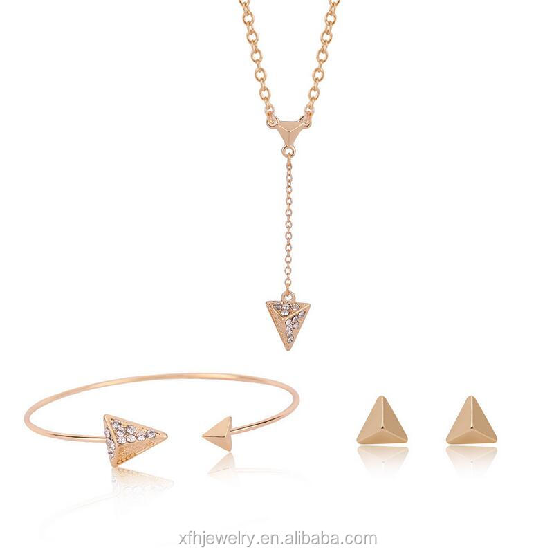 Fashion Long Triangle Gold Plated Crystal Necklace / Earrings / Bracelet Bridal Accessories Jewelry Sets