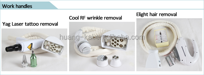 3 Handles Bipolar RF E-light Hair Removal ND YAG Vascular Laser