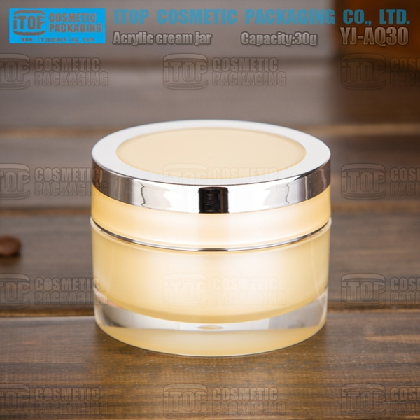 YJ-AQ30 30g popular cylinder round high quality light yellow acrylic cosmetic jars display