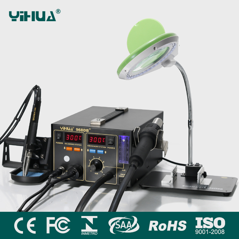 YIHUA 968DB+ bga rework station for laptop motherboard with LED Magnifying Lamp with bracket plate + small electronic board Fix