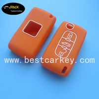 Big Discount 3 buttons silicone remote key cover for peugeot car key peugeot key case