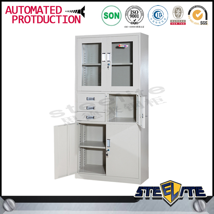2 glass door metal cabinet with adjustable shelf/3 drawer metal file cabinet