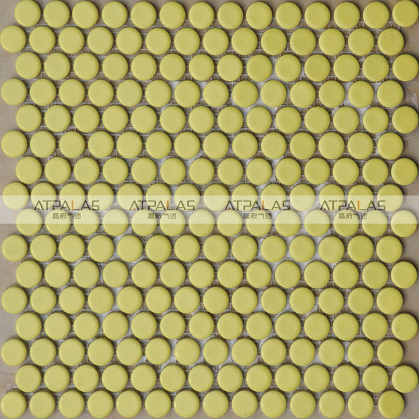 yellow round ceramic floor tile mosaic with competitive price