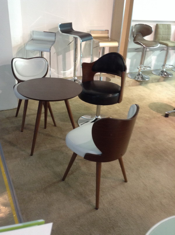 Modern bent wood and white leather upholstered kitchen for White wood upholstered dining chairs