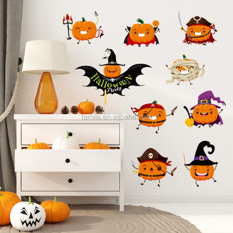 Halloween Pumpkin Design Self-adhesive Kids Pirate Wall Sticker