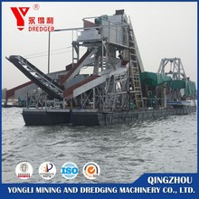 River sand dredging and maintance bucket chain gold dredger/ sand mining machine