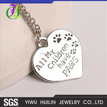 JTBC1064 Yiwu Huilin Jewelry Lovely Heart-shaped alphabet all my cnildren have paws pendant necklace
