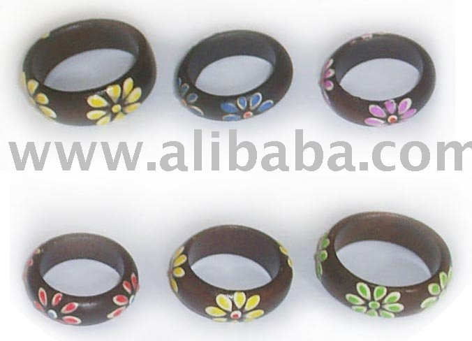 Painted Wooden Finger Rings