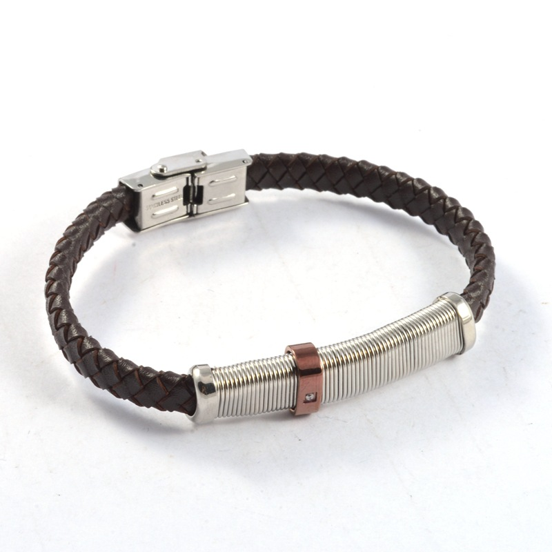 Leather bracelet with anodized aluminum silver wire jewelry,stainless steel clasp simple leather braided bracelet for men