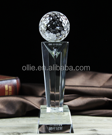 3D laser golf ball shape crystal trophy