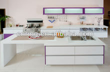 2015 modern design of white color high gloss lacquer kitchen cabinets with glass cabinet