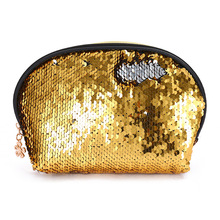 Shell Shiny Sequins Protable Comestic Makeup Bag Coin Purse Clutch for Women ang Girls Black