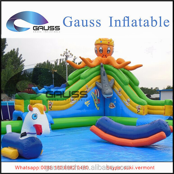 Octopus cartoon inflatable large slide/new style inflatable swim water slide