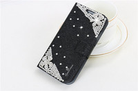 Hot selling diamond leather flip cell phone case for samsung galaxy s4