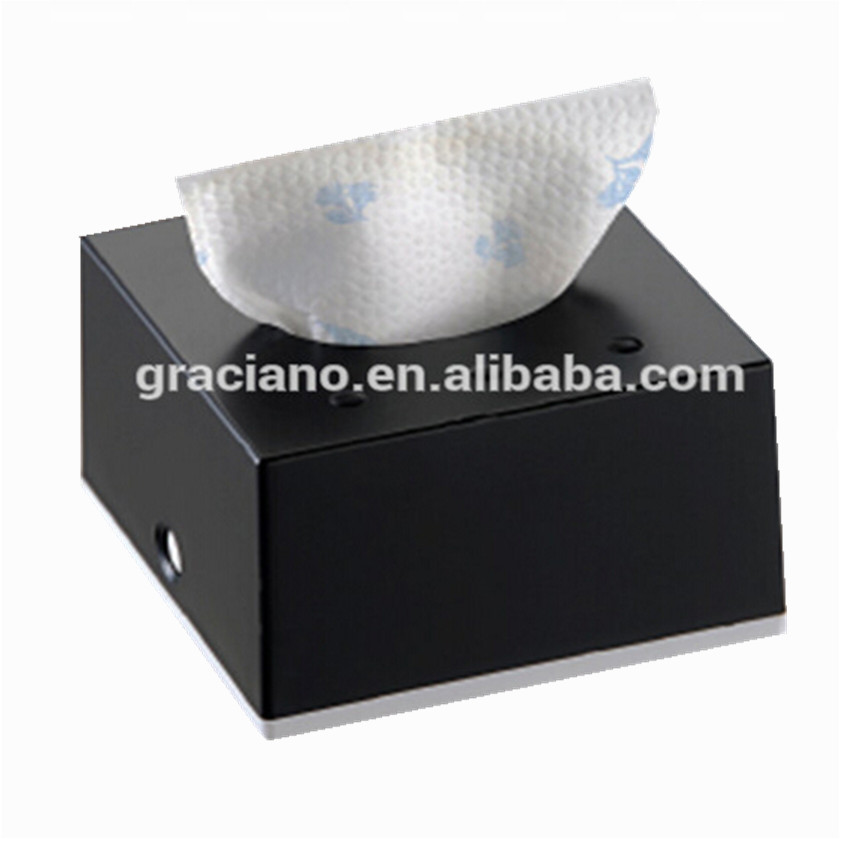 JN8901E Black Squre Decorative Fancy Public Car Wholesale Wall Mounted Plastic Facial Mini Tissue Box