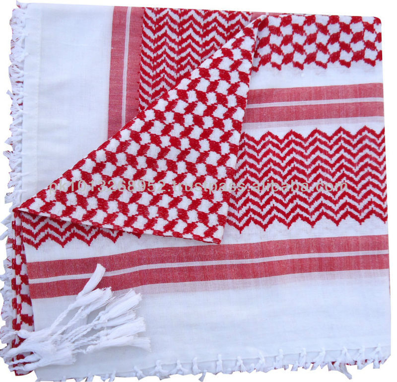 Red/White,Traditional Arab Keffiyeh/Shemagh/Desert Scarf,Arafaat muslim fashion