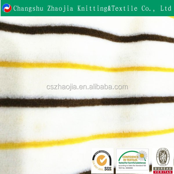china oeko tex knitting wool manufacturer High quality stripe custom printed 80 cotton 20 polyester fleece fabric manufacture