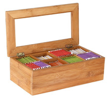 Bamboo Tea Storage Box, 8 Equally Divided Compartments