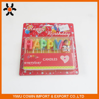 happy birthday with a boy/girl candle / paraffin wax alphabet candles