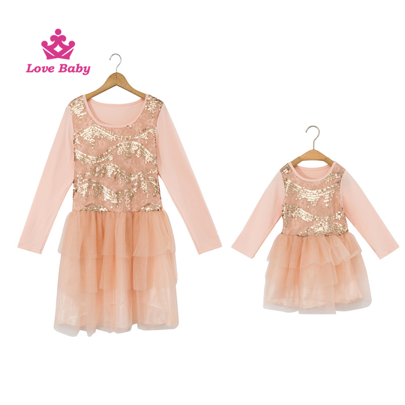 Wholesale cotton Sequined mom and me clothing sets,mother daughter matching dress, latest dress designs LBMM004
