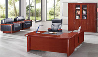 antique wooden Commercial Desk Office with genuine leather cover Heavy Duty Wood Office Design Furniture (FOHA-2Y201)