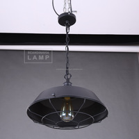 Manufacturer's Premium Industrial Pendant Light Wire Cage Covering Hanging Lamp