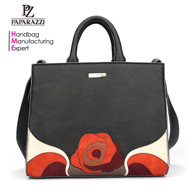 6981 The Most Popular Black Color Rose Patchwork Fashion PU Women Bags
