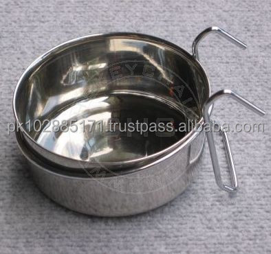 Stainless Steel Bowl with Hanger for Cages