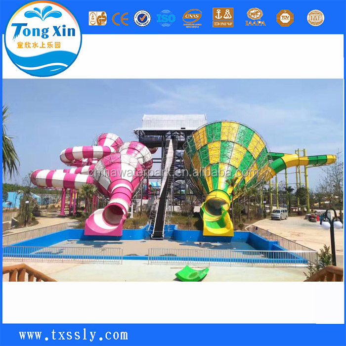 Safe and reliable exciting pool fiberglass slide + water park recreational facilities steel structure